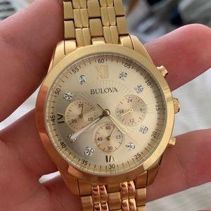 Mens Bulova Watch REAL Diamonds Gold Tone